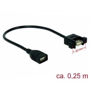 USB 2.0 pikenduskaabel paneelile USB2.0 (F) - USB 2.0 (F), 0.25m, must