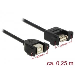 USB-B 2.0 pikenduskaabel paneelile USB-B 2.0 (F) - USB-B 2.0 (F), 0.25m, must