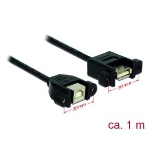 USB-B 2.0 kaabel paneelile USB-B 2.0 (F) - USB-B 2.0 (F), 1.0m, must