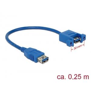 USB 3.0 pikenduskaabel paneelile USB 3.0 (F) - USB 3.0 (F), 0.25m, sinine