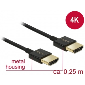 HDMI kaabel 0.25m, ethernet, 3D 1920x1080@60Hz, 4K 3840x2160@60Hz,Slim, must