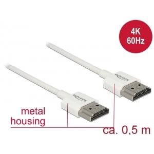 HDMI kaabel 0.5m, ethernet, 3D 1920x1080@60Hz, 4K 3840x2160@60Hz,Slim, valge