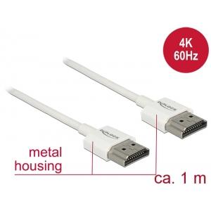 HDMI kaabel 1.0m, ethernet, 3D 1920x1080@60Hz, 4K 3840x2160@60Hz,Slim, valge