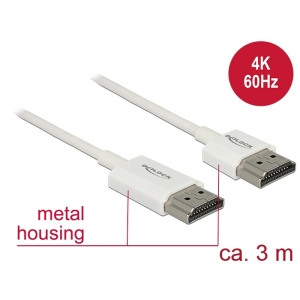 HDMI kaabel 3.0m, ethernet, 3D 1920x1080@60Hz, 4K 3840x2160@60Hz,Slim, valge