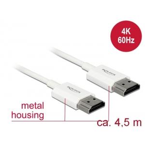 HDMI kaabel 4.5m, ethernet, 3D 1920x1080@60Hz, 4K 3840x2160@60Hz,Slim, valge