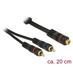 Adapter RCA (F) - 2xRCA (M) 0.2m, kullatud OFC, to...