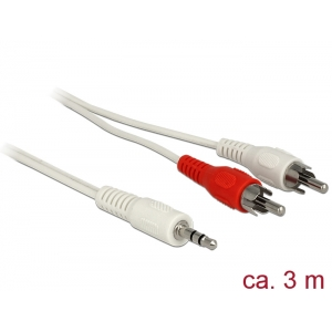 3.5mm - 2xRCA kaabel 1.5m, 29 AWG, valge