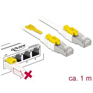 Võrgukaabel Cat6a S/STP 1.0m, valge, lukuga, LSZH, CU