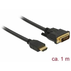 HDMI - DVI-D Dual Link kaabel 1.0m, kullatud 2560x1600@60Hz, (sign suund HDMI <> DVI) töötab mõlemas suunas