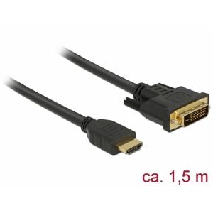 HDMI - DVI-D Dual Link kaabel 1.5m, kullatud 2560x1600@60Hz, (sign suund HDMI <> DVI) töötab mõlemas suunas
