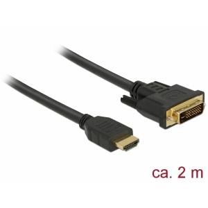 HDMI - DVI-D Dual Link kaabel 2.0m, kullatud 2560x1600@60Hz, (sign suund HDMI <> DVI) töötab mõlemas suunas