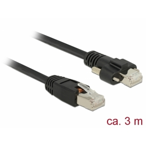 Võrgukaabel Cat6 S/STP 3.0m, must, kruvidega, CU