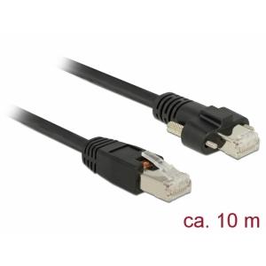 Võrgukaabel Cat6 S/STP 10.0m, must, kruvidega, CU