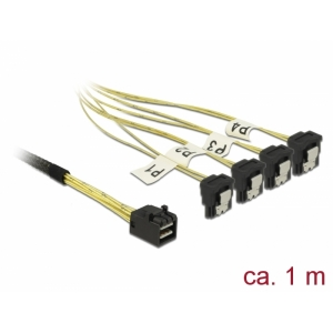 Mini SAS kaabel 1.0m (SFF-8643 - 4x SATA 7pin nurgaga)