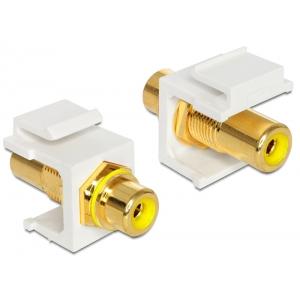 Keystone moodul: RCA F / F, kollase otsikuga, kullatud