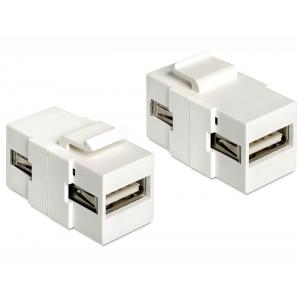 Keystone moodul: USB 2.0 A F / F, valge