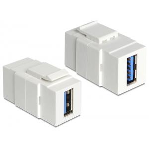 Keystone moodul: USB 3.0 A F / F, valge