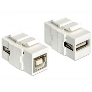 Keystone moodul: USB 2.0 A (F) - USB 2.0 B (F), valge