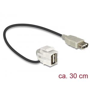 Keystone moodul: USB 2.0 A F / F, 110° nurgaga, kaabli pikkus 22cm, valge
