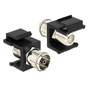 Keystone moodul: IEC-pistik (coax) / F-pesa, must