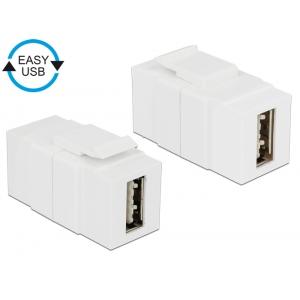 Keystone moodul: USB 2.0 A F / F, kahepoolne ühendus EASY-USB, valge