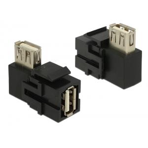 Keystone moodul: USB 2.0 A (F) - USB 2.0 A (F) 90° nurgaga, must