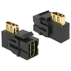 Keystone moodul: HDMI (F) - HDMI (F) 90° nurgaga, must