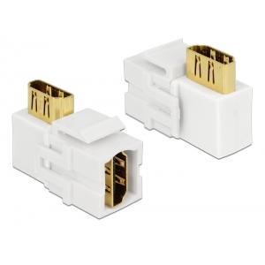 Keystone moodul: HDMI F / F, 90 kraadise nurgaga, valge