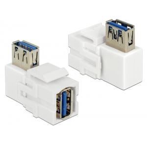 Keystone moodul: USB 3.0 A (F) - USB 3.0 A (F) 90° nurgaga, valge