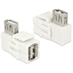 Keystone moodul: USB 2.0 A (F) - USB 2.0 A (F) 90° nurgaga, valge