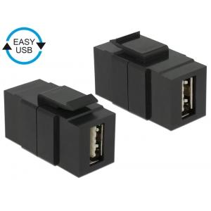 Keystone moodul: USB 2.0 A F / F, kahepoolne ühendus EASY-USB, must