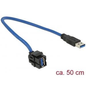 Keystone moodul: USB 3.0 A F / M, 250° nurgaga, kaabli pikkus 0.5m, must