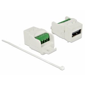Keystone moodul: USB 2.0 A F / Terminal block, valge