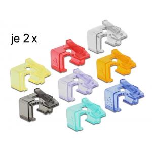 Vahetusklambrid RJ45 pistikule -läbipaistev, punane, sinine, must, roheline, lilla, kollane, oranž 2tk igat värvi