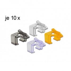 Vahetusklambrid RJ45 pistikule -läbipaistev, must, lilla, oranž, 10tk igat värvi
