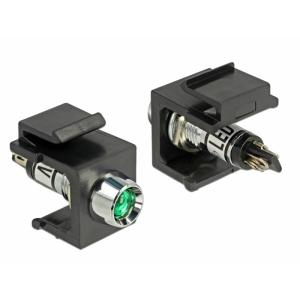Keystone moodul: roheline 6V LED, must