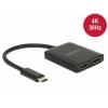 USB-C splitter 1 sisse / 2 välja HDMI (F) 2560x1440@60Hz / 3840x2160@30Hz