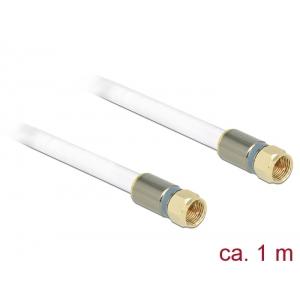 Antennikaabel F pistik / F pistik 1.0m RG-6/U, premium, kullatud otstega, valge