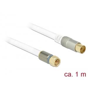 Antennikaabel F pistik / IEC pesa 1.0m RG-6/U, premium, kullatud otstega, valge