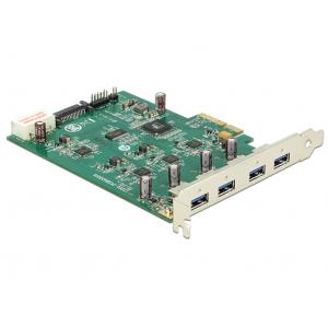 Laienduskaart: PCIe x1, 4 x USB 3.0 -A, (Quad Channel)