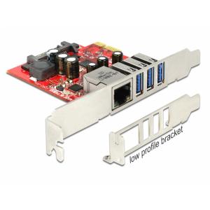 PCI Express kaart, 3 x USB 3.0 +1x RJ45 Gigabit välist porti, SATA + PCI sisemine port