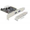 USB 3.1 laienduskaart : PCIe, 2xUSB 3.1 A 10-Gigabit (Standard + Low Profile)