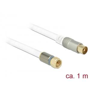 Antennikaabel F pistik / IEC pistik 1.0m RG-6/U, premium, kullatud otstega, valge