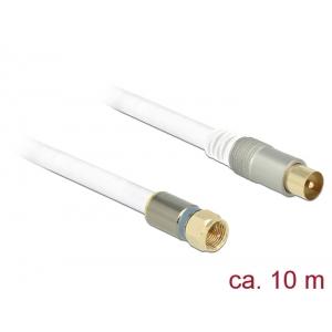 Antennikaabel F pistik / IEC pistik 10.0m RG-6/U, premium, kullatud otstega, valge