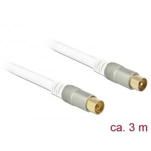 Antennikaabel IEC pistik / IEC pesa 3.0m RG-6/U, premium, kullatud otstega, valge