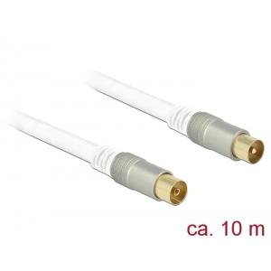 Antennikaabel IEC pistik / IEC pesa 10.0m RG-6/U, premium, kullatud otstega, valge