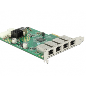 Võrgukaart: PCIe x1, 4 x Gigabit LAN PoE+ RJ45 65W