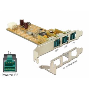 Laienduskaart: PCIe x1, 3 x PoweredUSB 2.0 - A (F) 12V,