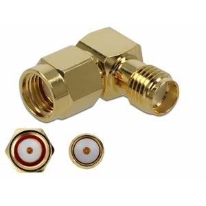 Üleminek RP-SMA pistik - SMA pesa, 10 GHz, kullatud, nurgaga