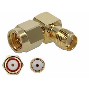Üleminek SMA pistik - SMA pesa, 10 GHz, kullatud, nurgaga